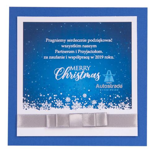 Chwalebne kartki bożonarodzeniowe dla firm - granatowe z kokardką WO08