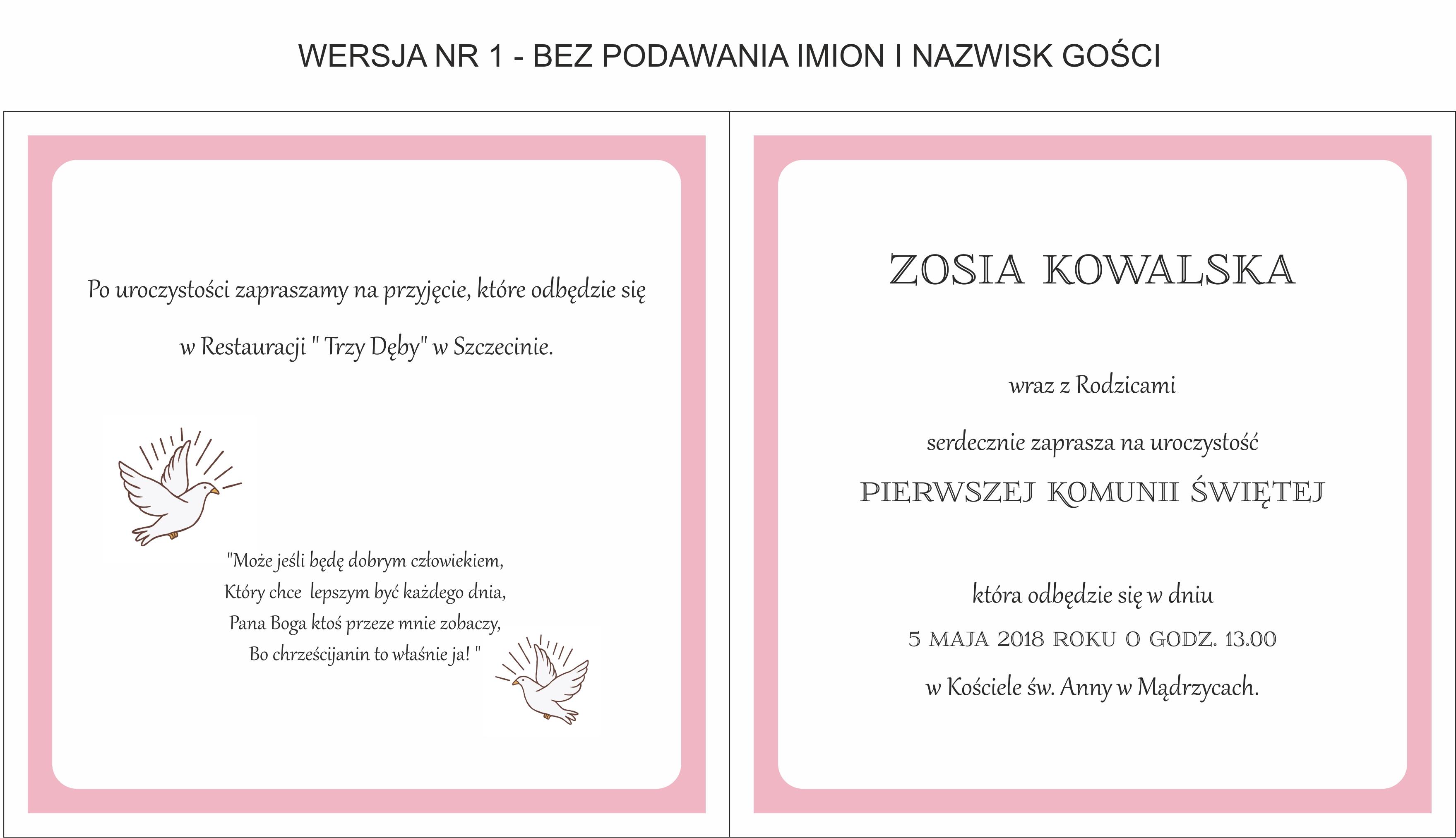 056fb9ed81 spersonalizowane zaproszenia komunijne dla dziewczynki