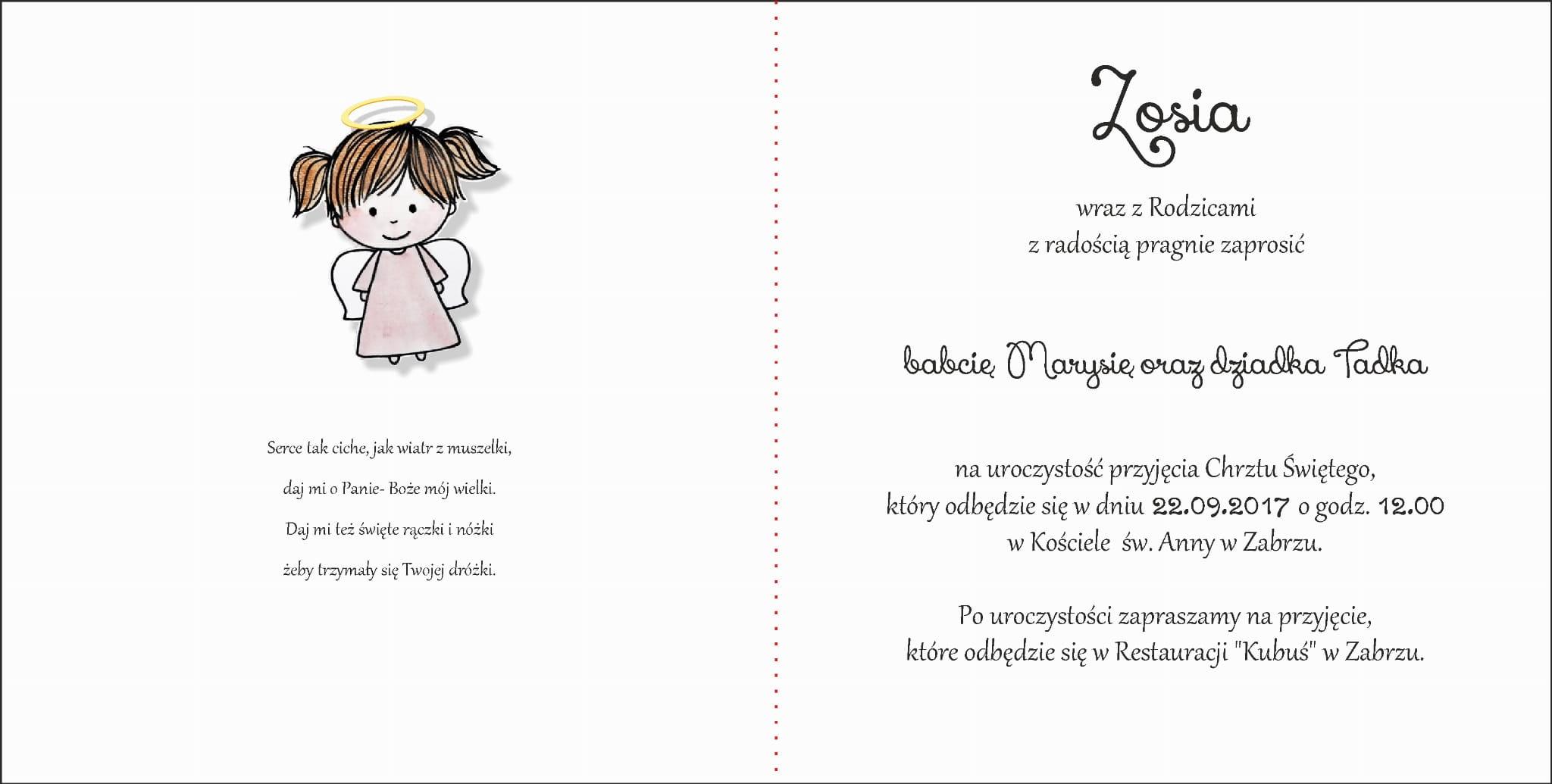 Zaproszenia Na Chrzciny Dla Dziewczynki Aniołek