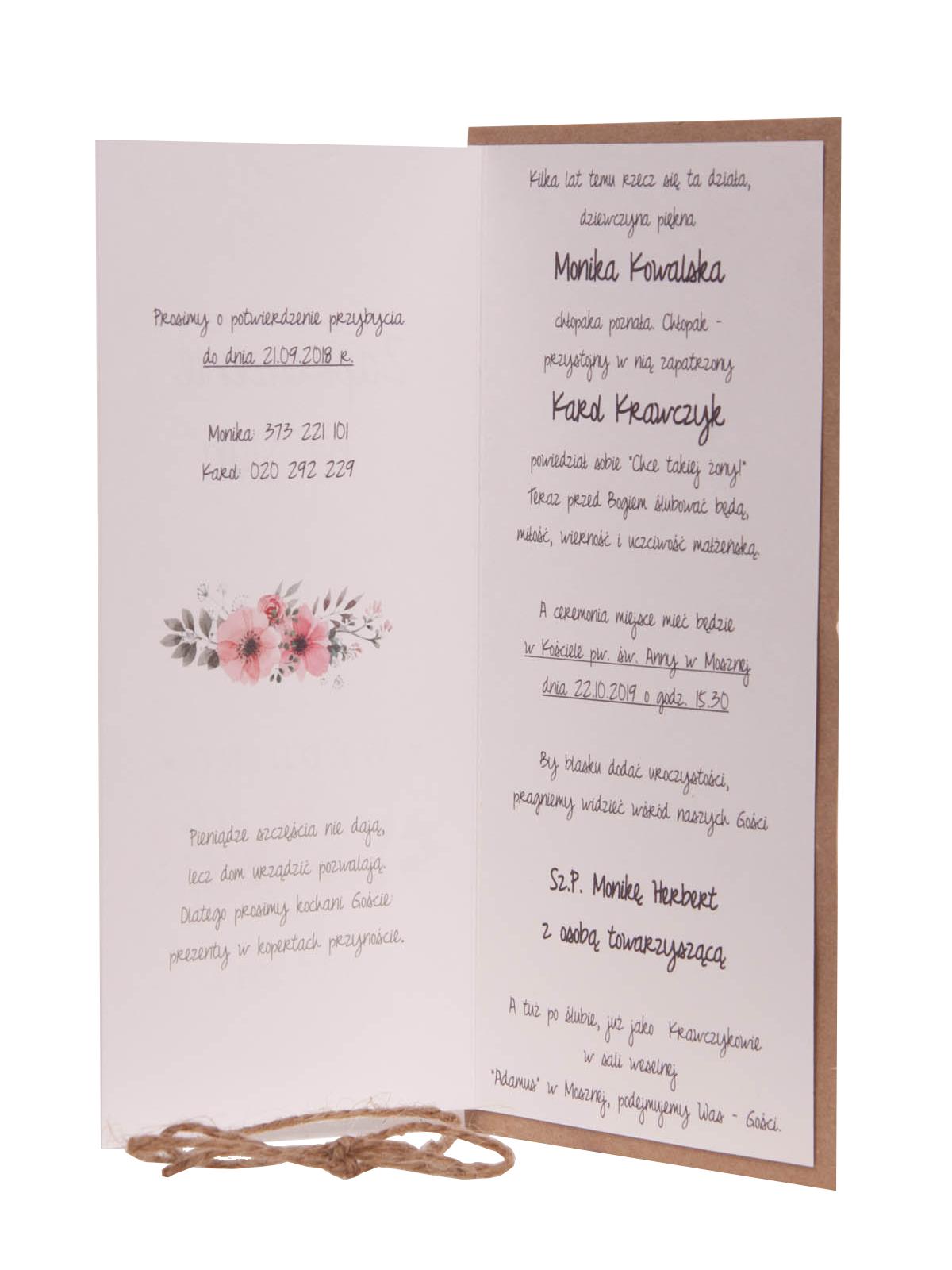 Rustykalne Zaproszenia Weselne Tanie Zaproszenia ślubne