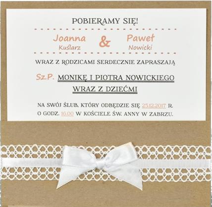 Modernistyczne koronkowe zaproszenia ślubne - zawiadomienia o ślubie LC81